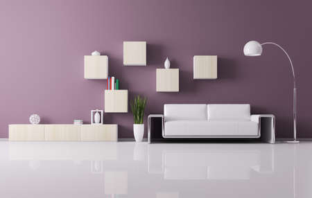 Interior of living room with sofa and shelves 3d render photo