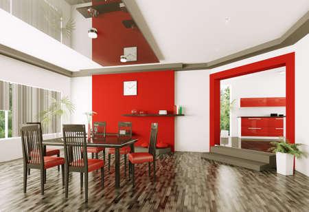 Interior of modern dining room 3d render Stock Photo
