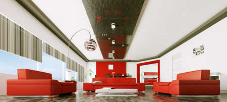 red sofa: Interior of modern living room panorama 3d render Stock Photo