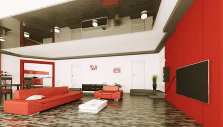Interior of modern living room with lcd 3d render photo