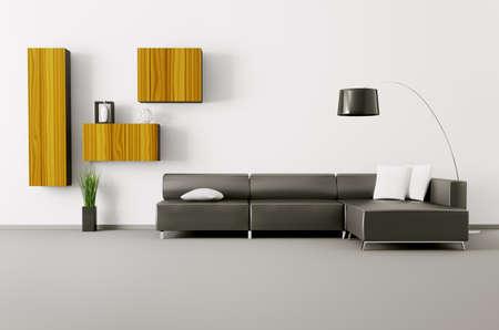 Interior aus Wohnzimmer mit schwarzen Sofa 3d render