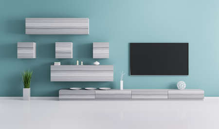 home furniture: Interior of living room with plasma tv 3d render Stock Photo