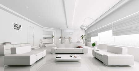 Interieur van moderne witte woonkamer panorama 3d render