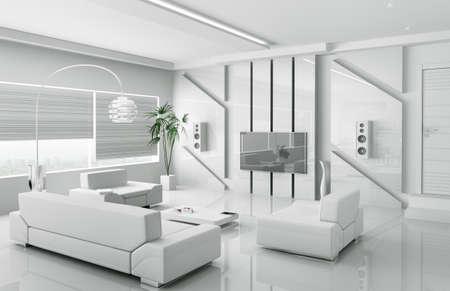 Great Interior Of Modern White Living Room 3d Render Stock Photo   18721866