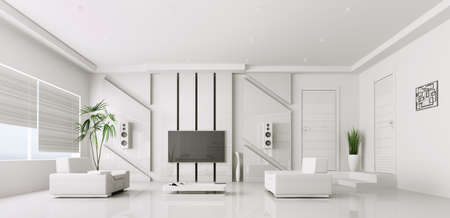 Interior of modern white living room with plasma tv 3d render