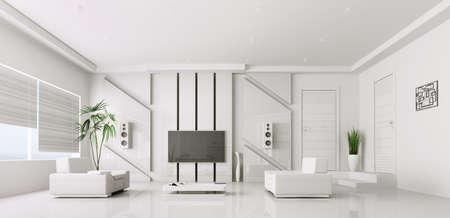 Interior of modern white Wohnzimmer mit Plasma-TV 3d render Lizenzfreie Bilder
