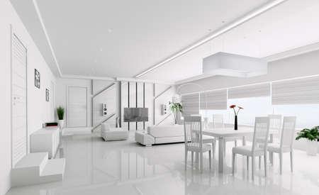 Interieur van moderne witte flat 3d render Stockfoto