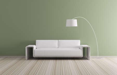 Modern binnenland van ruimte met witte sofa 3d render