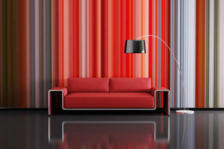 Modern interior of room with red sofa 3d render photo