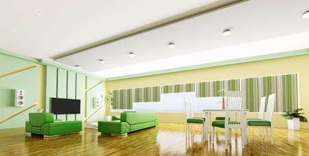 Interieur van de moderne gele groene appartement panorama 3d render Stockfoto