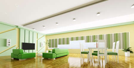 Interior of modern yellow green apartment panorama 3d render photo