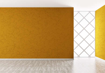 Empty interior background with orange wall and wooden floor 3d render Stock Photo - 18785021