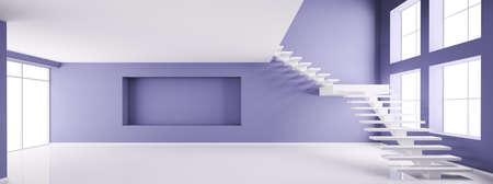 Empty interior der Wohnung 3d render Lizenzfreie Bilder