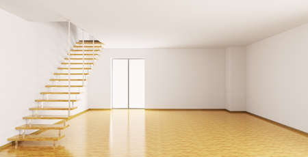 parquet: Empty interior of a room with staircase 3d render