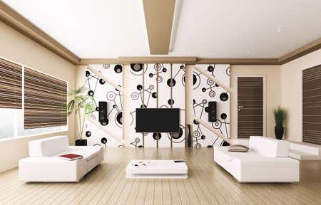 Interior of modern living room 3d render Stock Photo - 20018727