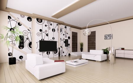 Interior of modern living room 3d render Stock Photo - 20430658