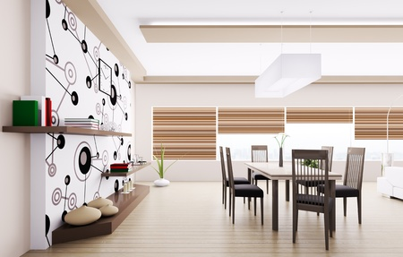 Inter of modern dining room 3d render Stock Photo - 20430657