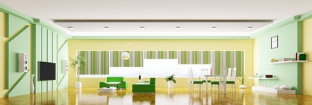 Inter of modern apartment living room panorama 3d render Stock Photo - 20430734