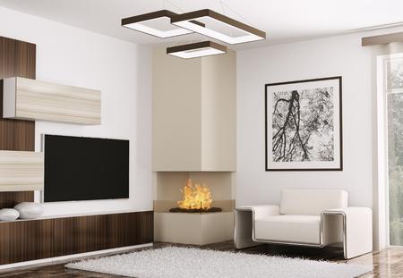 Interieur van de moderne kamer met sofa en open haard 3d render