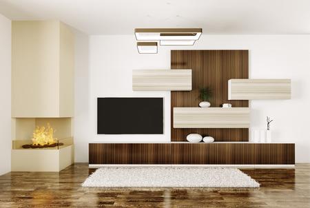 Interieur van de moderne kamer met open haard en lcd tv 3d render