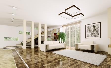 Interieur van een moderne woonkamer met trap 3d render