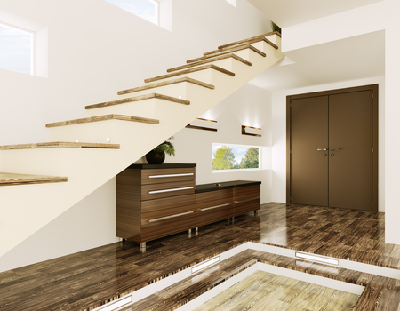 Interior of modern entrance hall with staircase 3d render Stok Fotoğraf