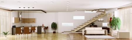 Interieur van modern appartement woonkamer keuken panorama 3d render