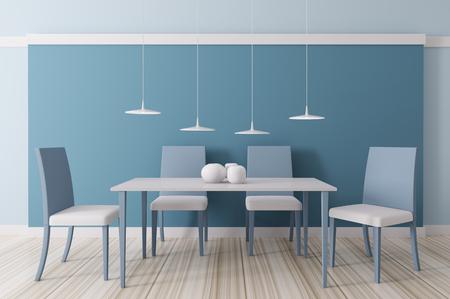Moderne blauwe eetkamer interieur 3d render