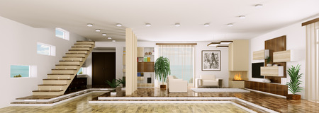 Interior of modern apartment living room hall panorama 3d render Stock Photo