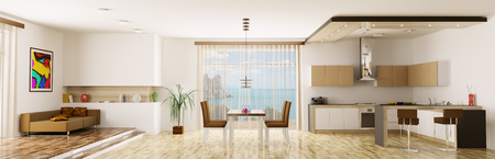 Interior of apartment kitchen dining room panorama 3d render Stock Photo - 23035750