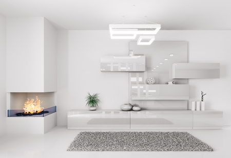 White room with fireplace and sideboard interior Stock Photo
