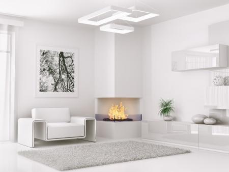肘掛け椅子と暖炉の 3 d レンダリングと現代の白い部屋のインテリア