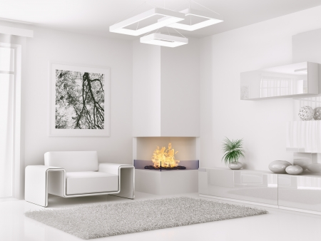 Interior of modern white room with armchair and fireplace 3d render Stock fotó - 23337884