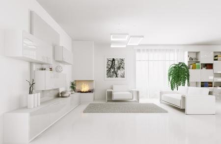Interieur van moderne witte woonkamer 3d render