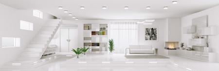 Intérieur de blanc appartement salon salle panoramique 3D render Banque d'images
