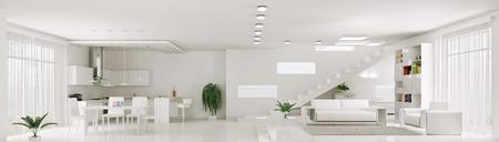 Intérieur de blanc appartement salon cuisine panorama rendu 3d Banque d'images - 23338337