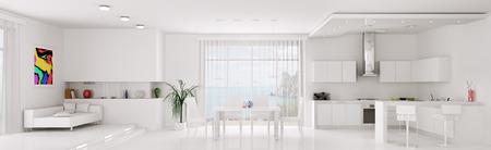 白いアパートのキッチン ダイニング ルーム パノラマ 3 d レンダリング インテリア 写真素材