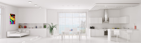 Interior of white apartment kitchen dining room panorama 3d render