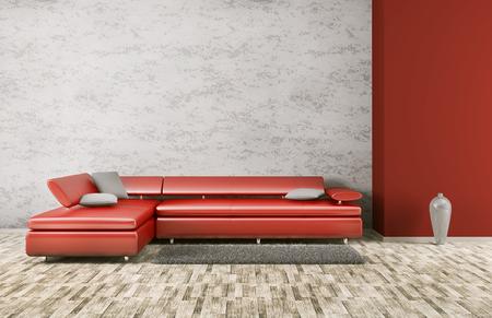 Interieur van een woonkamer met rode sofa 3d render
