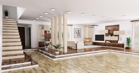 Interieur van modern appartement woonkamer zaal panorama 3d render