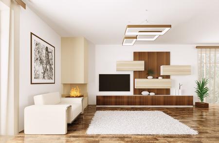 Interieur van de moderne kamer met een leunstoel en dressoir 3d render