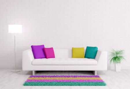 白いソファ 3 d レンダリングと部屋のモダンなインテリア
