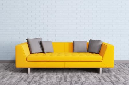 Modern interieur met oranje bank over de bakstenen muur 3d render