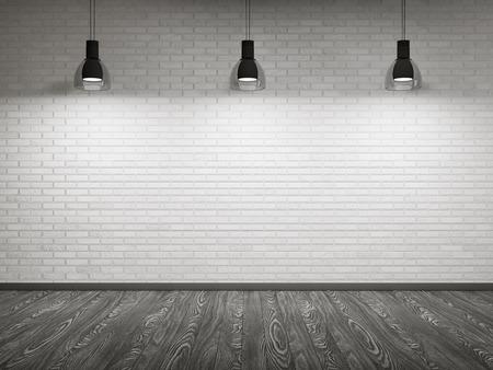 Leeg binnenland met bakstenen muur en houten vloer