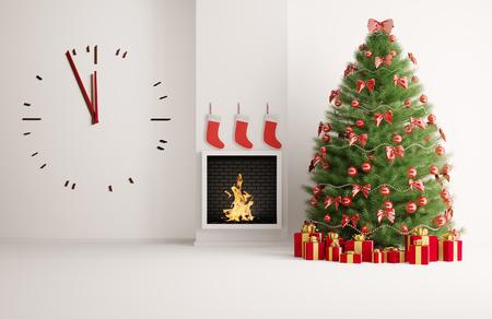 De spar van Kerstmis in de kamer met open haard en een grote klok Stockfoto