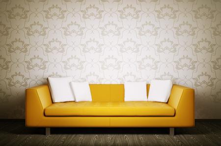 Modern interior with orange sofa 3d render