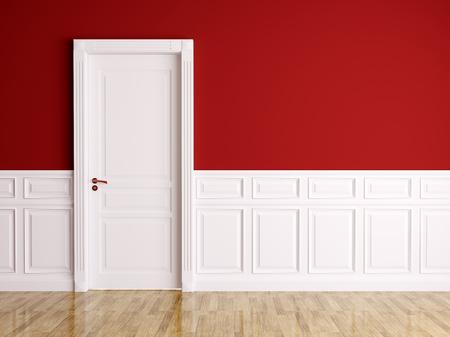 白の古典的なドアとの赤白のインテリア 写真素材