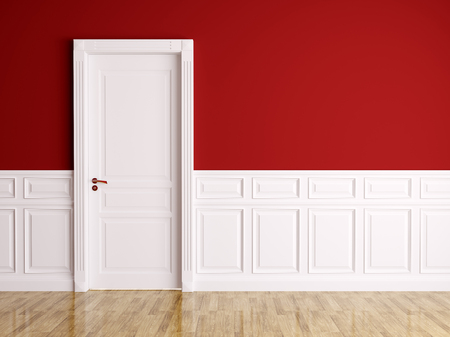 Red white interior with white classic door Stock Photo - 24808646