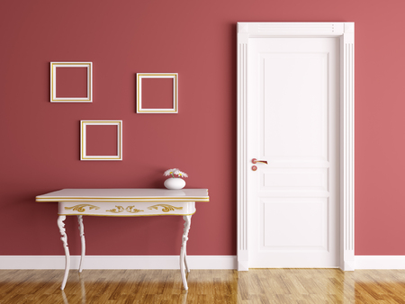 Klassieke interieur van een kamer met deur en tafel