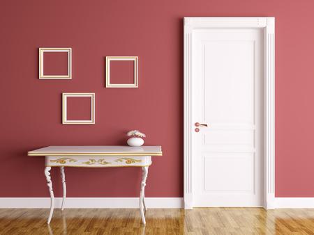 Klassisches Interieur aus einem Zimmer mit Tür und Tisch